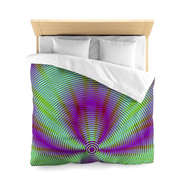 Vibrant Geometric Green And Purple Super Soft Duvet Cover
