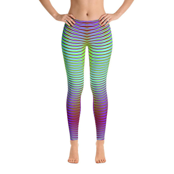 Unique Vibrant Purple And Green Geometric Super Soft Women's Leggings
