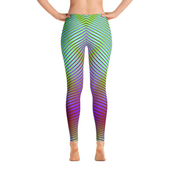 Modern Purple And Green Geometric Women's Leggings