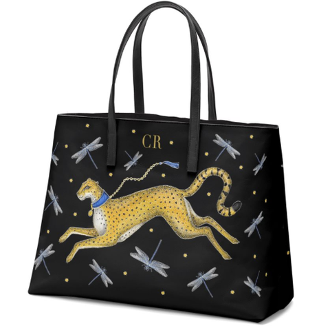 The Fari Bag - Cheetah & Dragonflies - Personalised - 100% Nappa Leather Handbag - Handmade to order