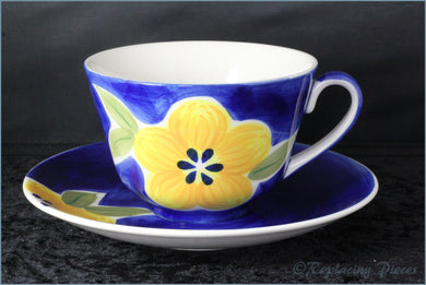 RPW40 - Whittards - Yellow Flower On Blue - Teacup & Saucer