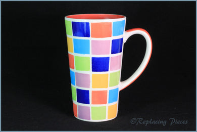 RPW49 - Whittards - Latte Mug (Multi-Coloured Squares)