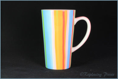 RPW73 - Whittards - Latte Mug (Pink Interior - Stripy Exterior)