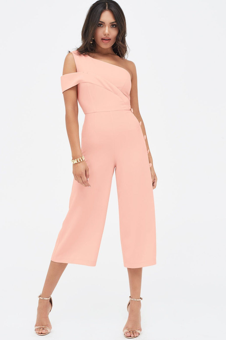 Off The Shoulder Button Detail Culotte Jumpsuit in Nude