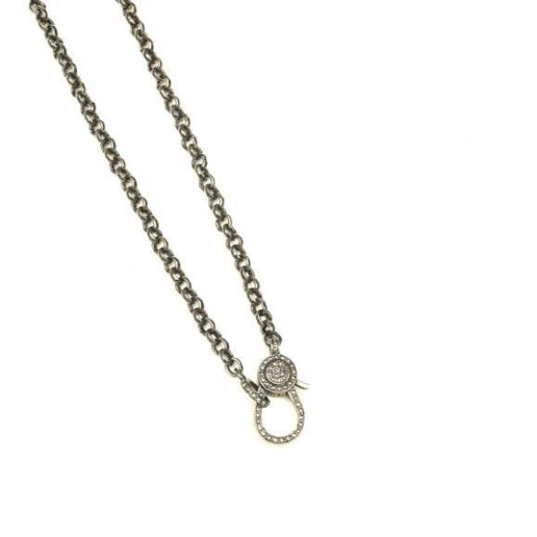 PETITE ROUND SILVER CHAIN WITH PAVE LOBSTER CLASP - A.FIER LIFESTYLE