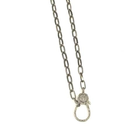PAPER CLIP SILVER CHAIN WITH PAVE LOBSTER CLASP - A.FIER LIFESTYLE
