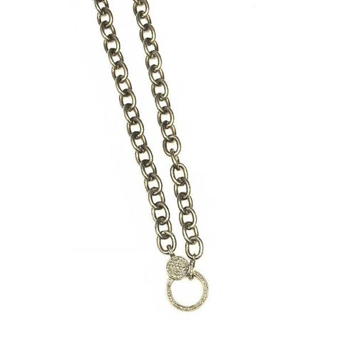 LARGE LINK SILVER CHAIN WITH PAVE LOBSTER CLASP - A.FIER LIFESTYLE