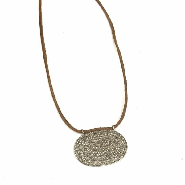 PAVE DIAMOND OVAL DISC AND SUEDE NECKLACE - A.FIER LIFESTYLE