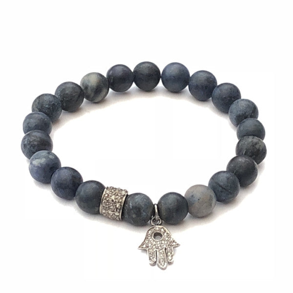 DUMORTIERITE WITH DIAMOND SPACER AND HAMSA CHARM BRACELET - A.FIER LIFESTYLE