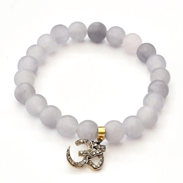 GREY AGATE WITH PAVE DIAMOND OM CHARM - A.FIER LIFESTYLE