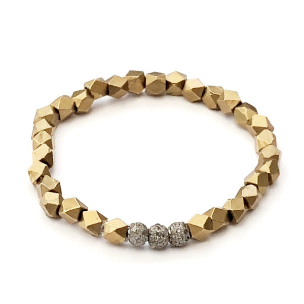 BRASS GEOMETRIC BEAD WITH THREE ROUND DIAMOND SPACERS - A.FIER LIFESTYLE
