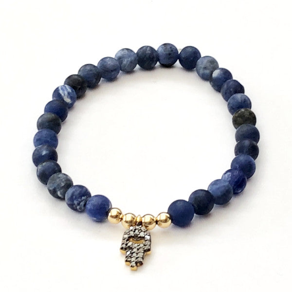 SODALITE AND 14K GOLD WITH PAVE DIAMOND HAMSA CHARM - A.FIER LIFESTYLE