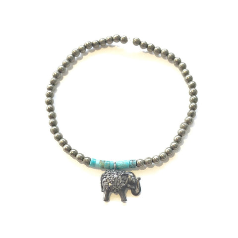 PYRITE AND TURQUOISE BRACELET WITH DIAMOND ELEPHANT - A.FIER LIFESTYLE