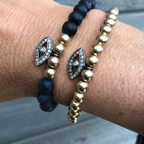 NAVY DUMORTIERITE WITH PAVE DIAMOND EVIL EYE CHARM - A.FIER LIFESTYLE