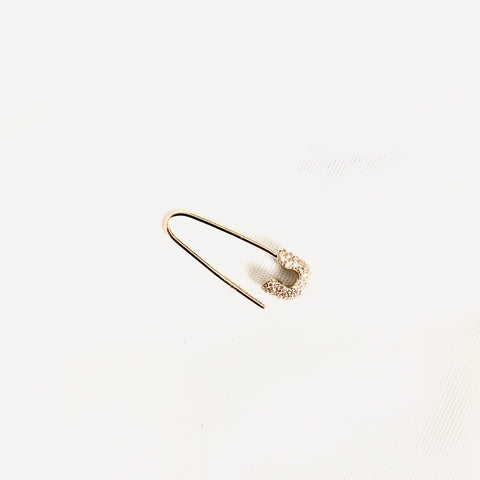 SAFETY PIN DIAMOND EARRING