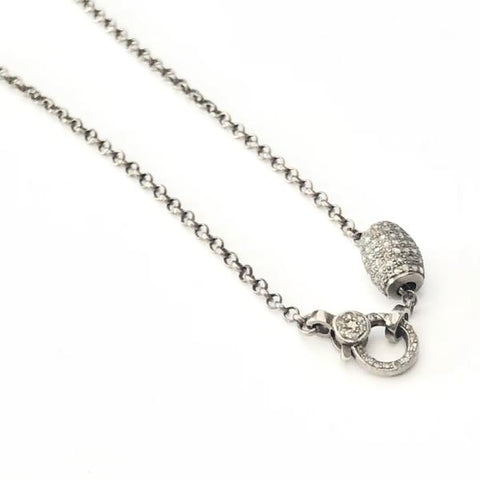 DIAMOND OVAL BEAD NECKLACE WITH PAVE LOBSTER CLASP - A.FIER LIFESTYLE