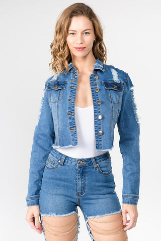 DISTRESSED DENIM JACKET WITH CHAIN -Wholesale Americanbazi