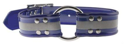 Miller's Provision Co. FIELDDOG - DOG - DOG COLLAR Miller's Provision Co., Reflective Stripe Dog Collar with Center Ring, Blue