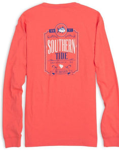 Southern Tide MEN - SHIRTS - LONG SLEEVE T-SHIRTS Southern Tide, Saloon Long Sleeve T-Shirt, Sunset