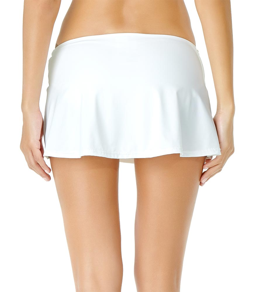 WHITE ADJUSTABLE SARONG SWIM SKIRT BY ANNE COLE