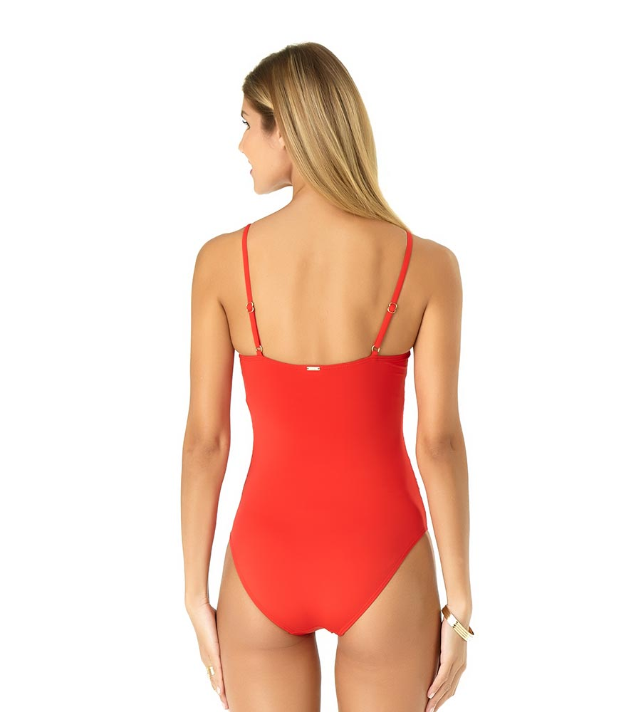 RED HOT SHIRRED LINGERIE MAILLOT BY ANNE COLE