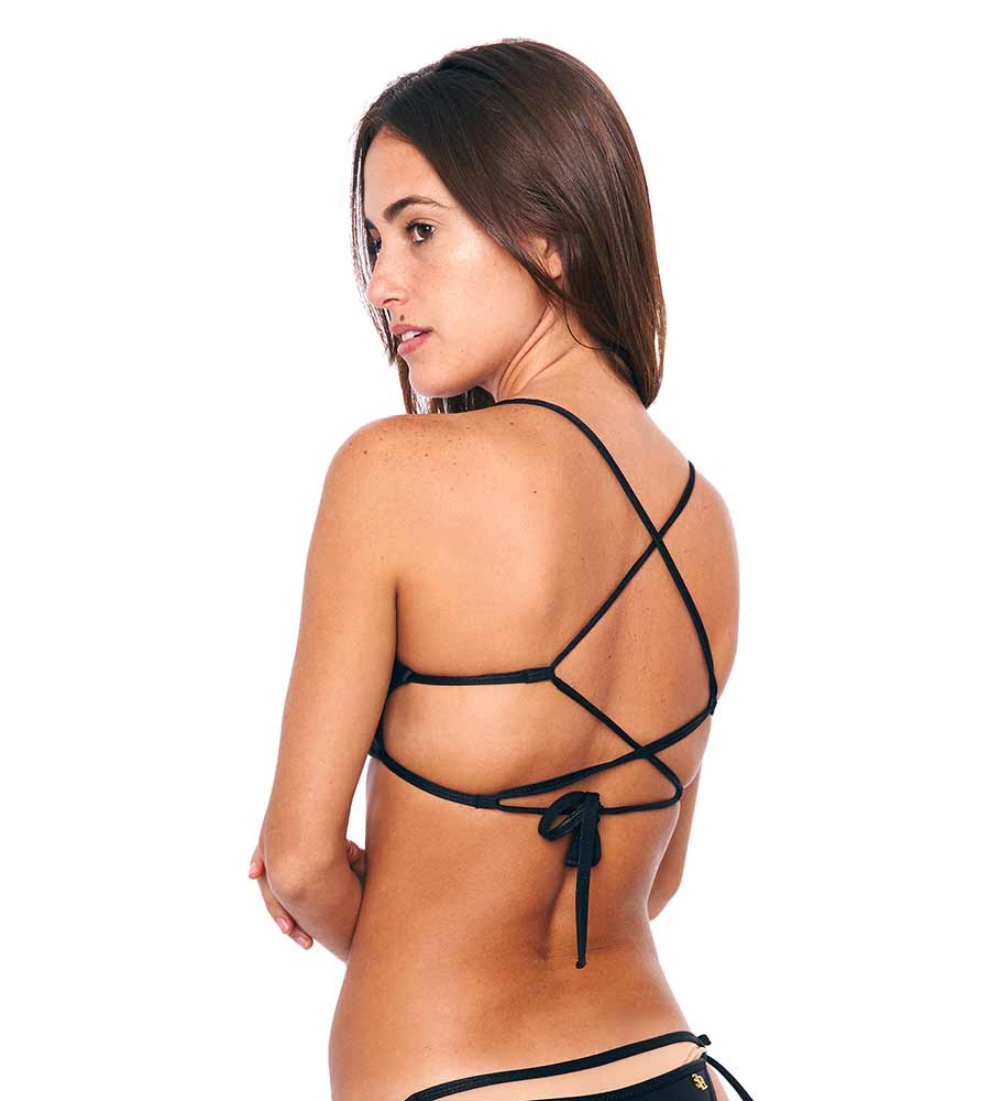 BRUNA BLACK STRAPPY BIKINI TOP BY SABZ