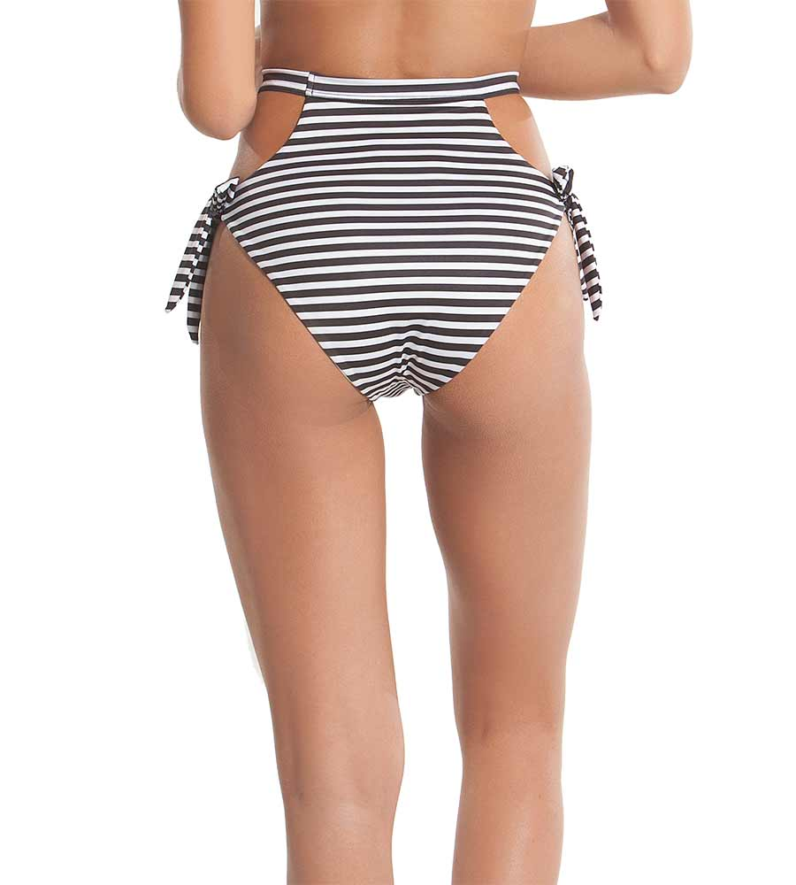 TROPIC STRIPE RETRO WAVES BIKINI BOTTOM BY KAYOKOKO