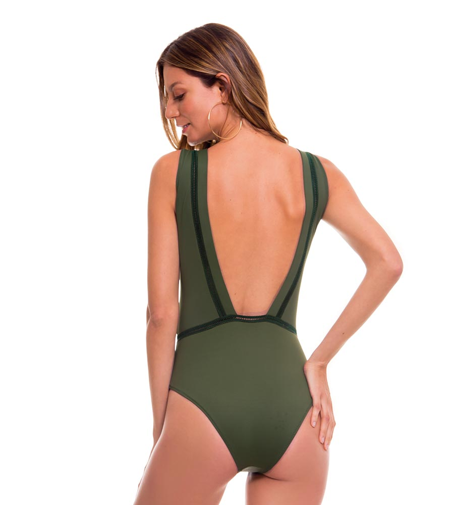 ROMANTIC FLOWERS GREEN ONE PIECE BY MILONGA