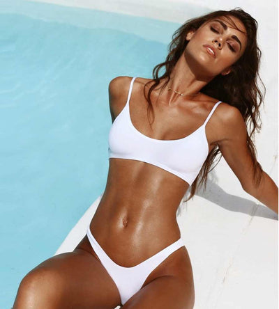 WHITE THAT SPORTY VIBE SPAGHETTI STRAP SPORTS BRA MONICA HANSEN MHB-56BW
