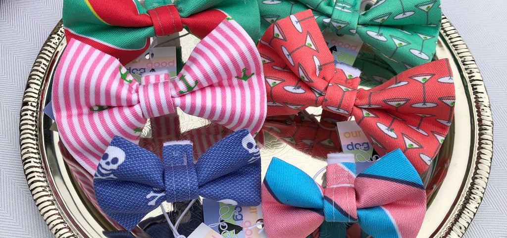Doggie bows and bowties to jazz up a dogs collar.  Repp stripes, oxford stripes with anchors and martini glass decorated bowties.