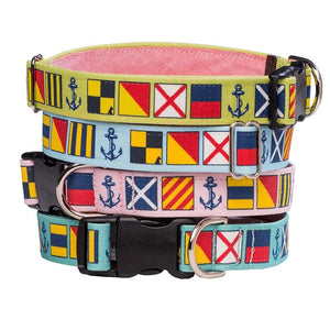 Our Good Dog Spot Love My Dog Nautical Signal Flag Dog Collar stack of pistachio blue pink and sea foam