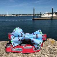 Our Good Dog Spot Red Nantucket Whale 23 Dog Collar and New England Lighthouse Bow Tie Buzzards Bay Blue