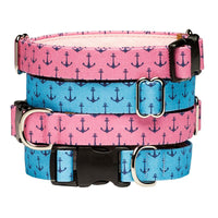Our Good Dog Spot Anchors Aweigh Preppy Dog Collar stack of blue and pink