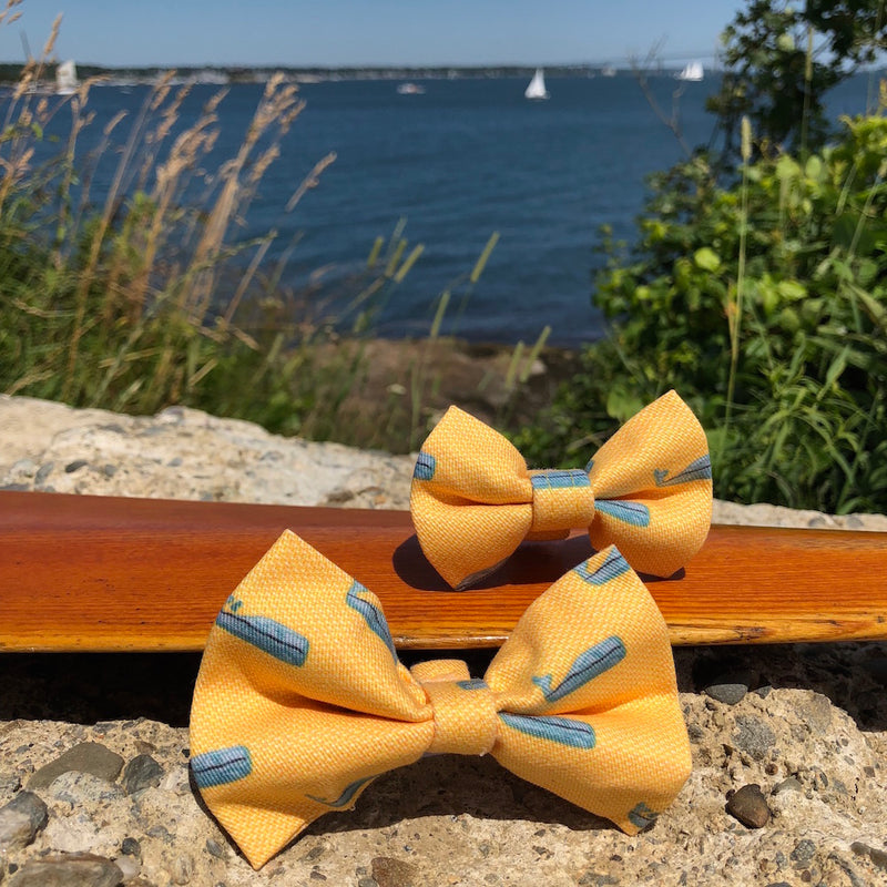 Our Good Dog Spot Yellow Nantucket Whale 23 Bow Tie