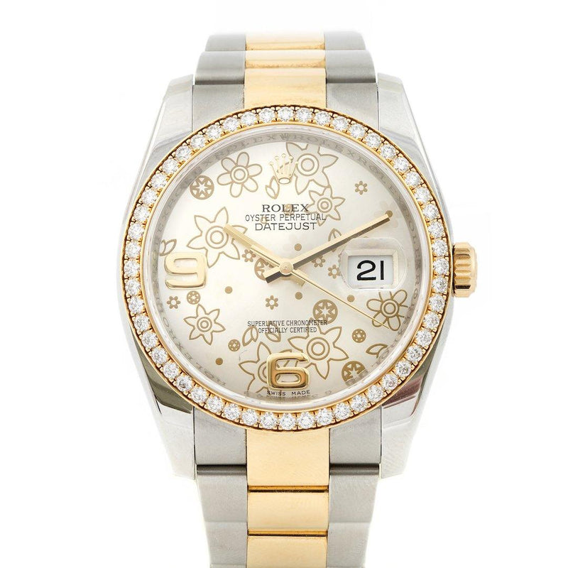 Rolex Datejust Two Tone Floral Dial Ref. 116243 - Twain Time, Inc.