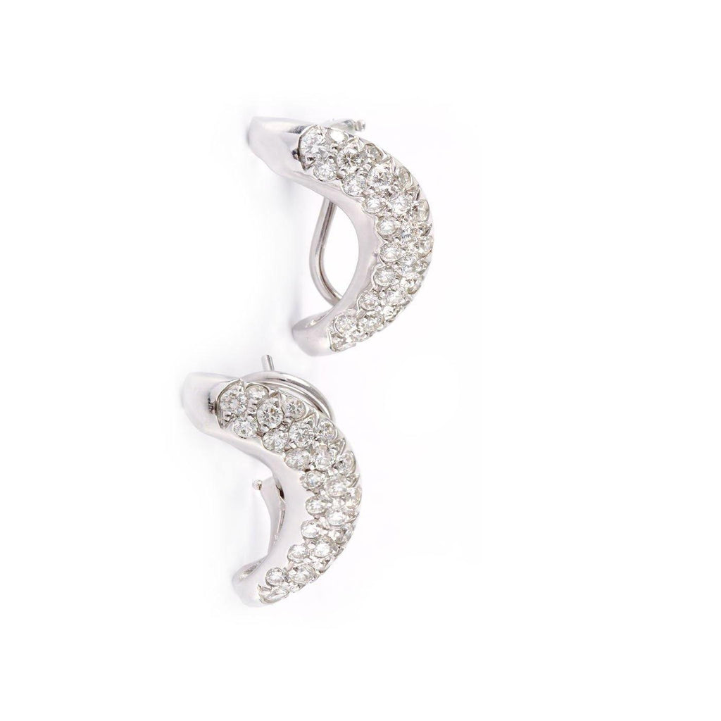 18K White Gold Pavé Diamond Crescent Moon Stud Earrings - Twain Time, Inc.