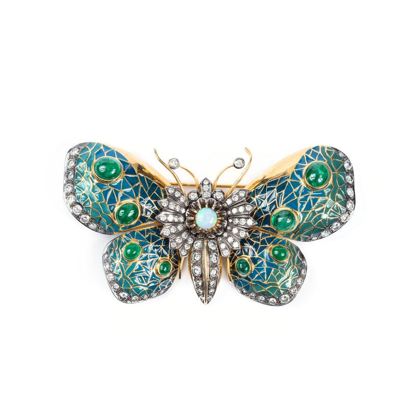Victorian Butterfly Brooch - 18K Yellow Gold, Enamel, Emerald, Diamond & Opal - Twain Time, Inc.
