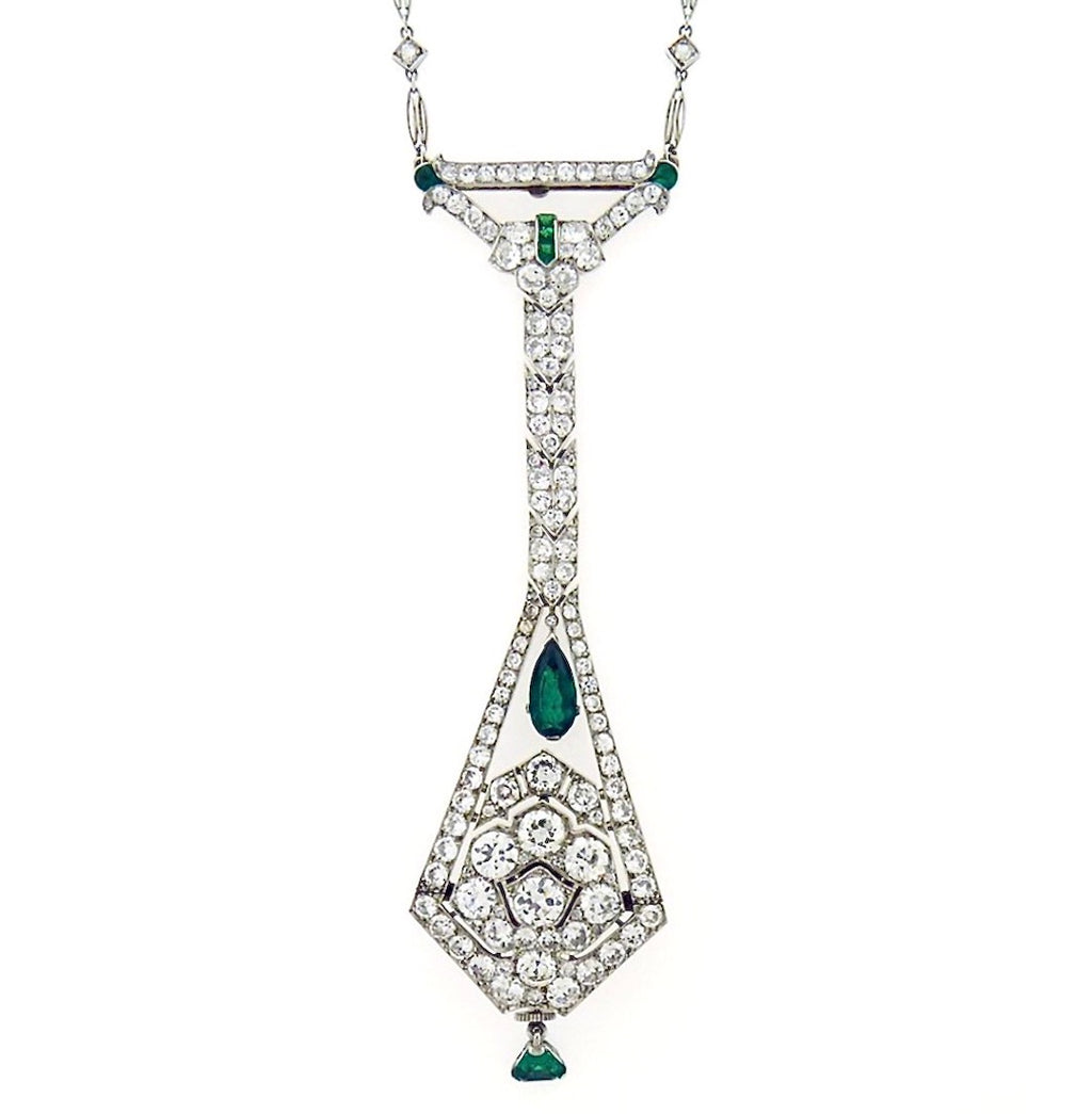 Art Deco Diamond and Emerald Platinum Necklace With A Watch - Twain Time, Inc.