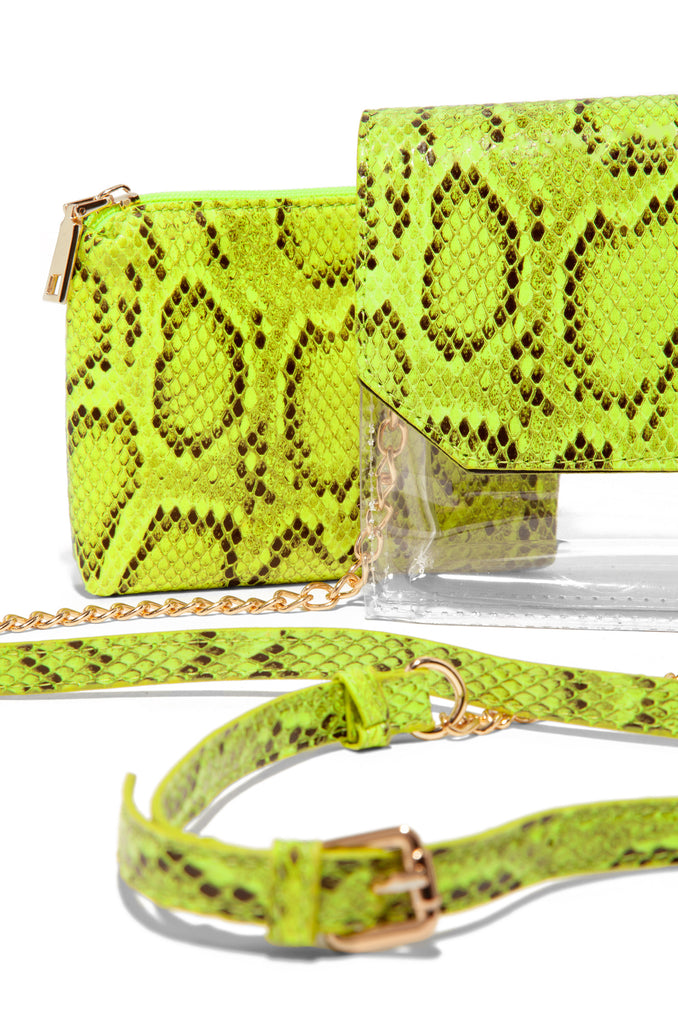 In The Clear Crossbody - Neon Lime Snake