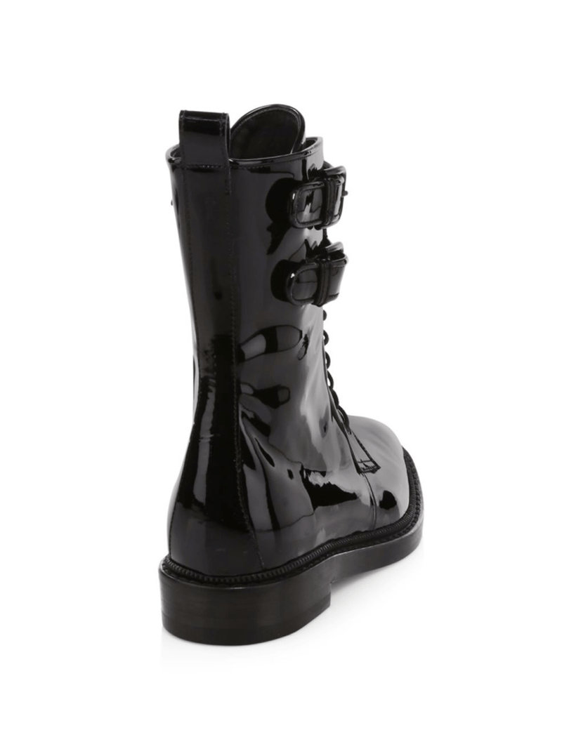 Landrey: Patent Leather Boots in Black