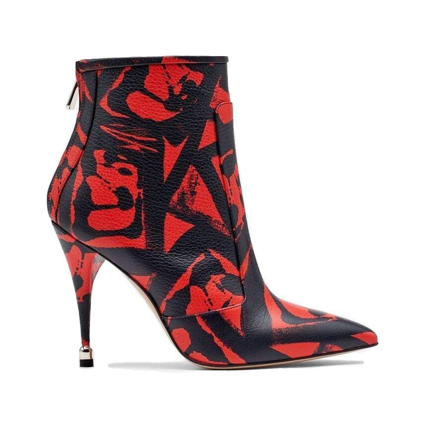 Citra: Leather Print Boots in Lipstick Red Shoes Paul Andrew - der ZEITGEIST