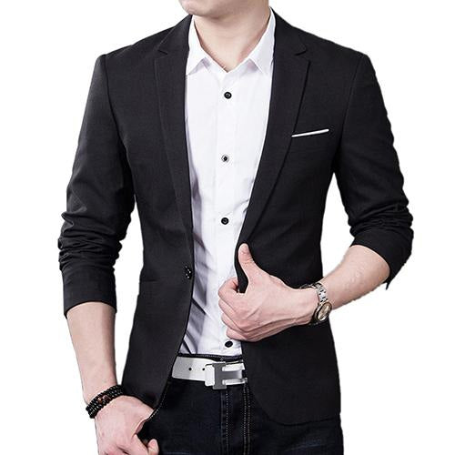 New Men's Single Button Step Collar Solid Color Slim Fit Casual Blazer Plus Size