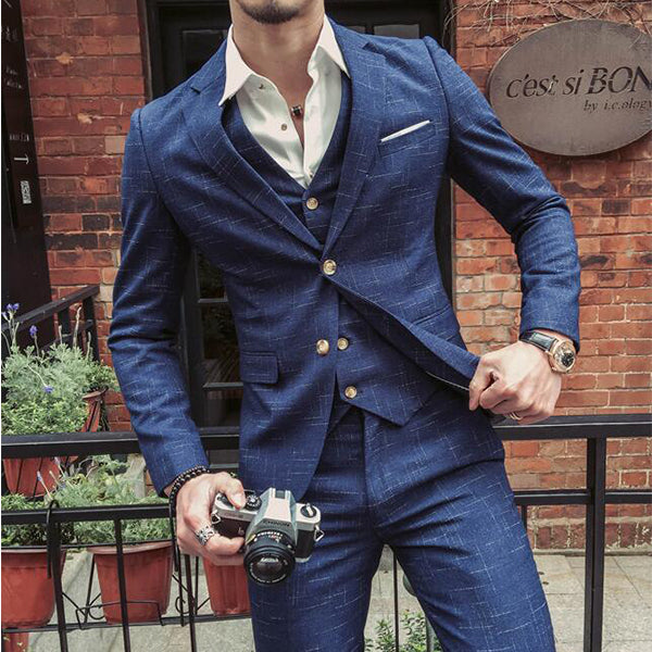 3 Pieces Blue Tuxedo Skinny Groom Wedding Formal Business Work Prom Suits