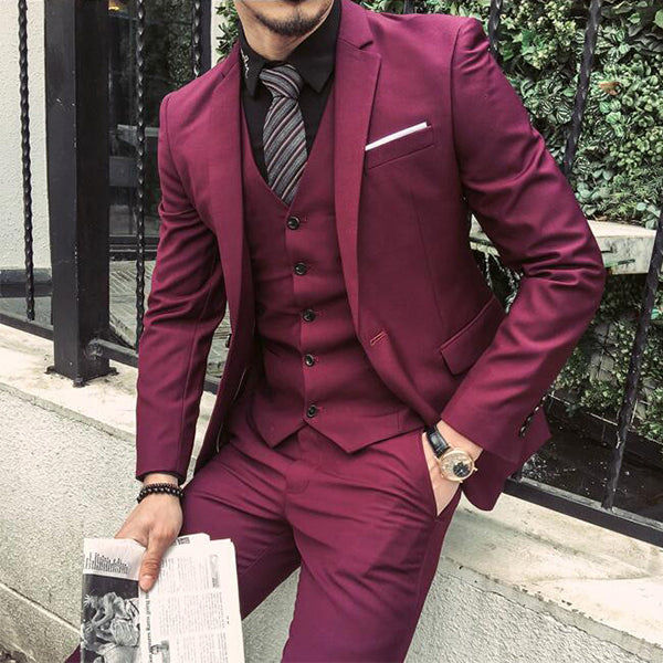 3 Pieces Black And Burgundy Skinny Tuxedo Formal Business Work Groom Wedding Prom Suits