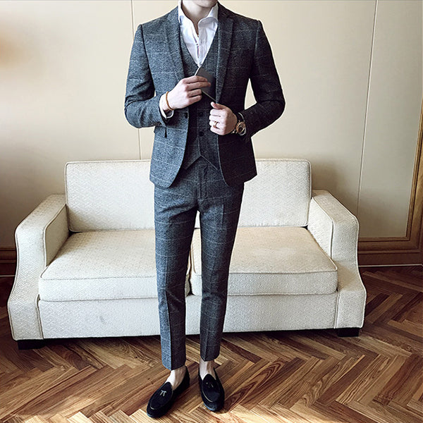 3 Pieces Grey Skinny Tuxedo Formal Business Work Groom Wedding Prom Suits