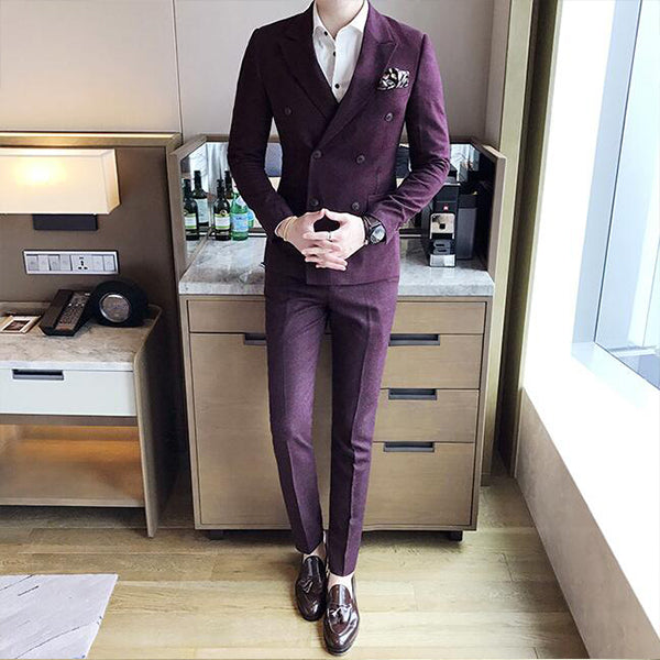 3 Pieces Burgundy And Grey Skinny Business Work Tuxedo Groom Wedding Formal Prom Suits