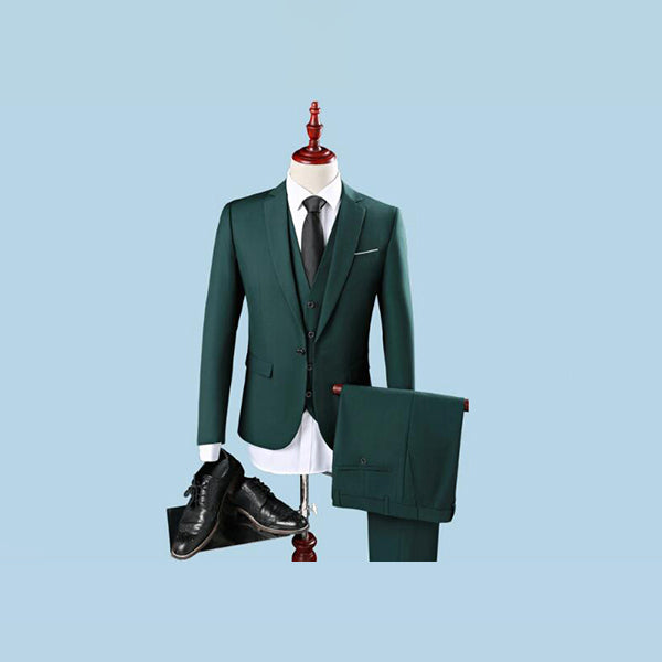 3 Pieces Dark Green Skinny Tuxedo Groom Wedding Formal Prom Suits
