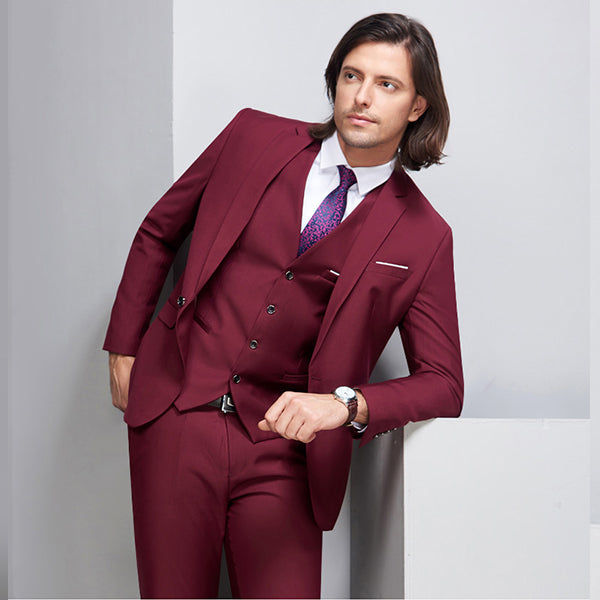 3 Pieces Burgundy Skinny Tuxedo Groom Wedding Formal Business Prom Suits