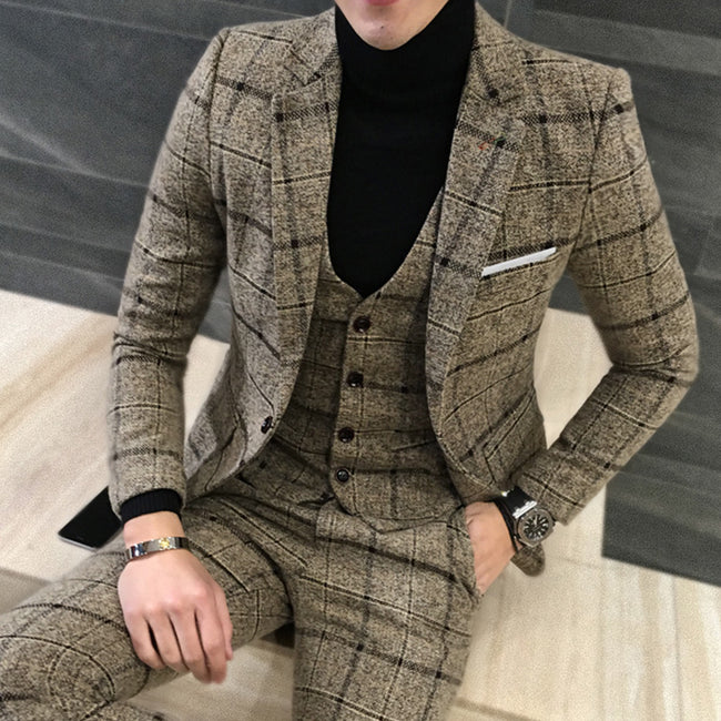 New Autumn Winter Men 2 Piece Plaid British Style Thick Slim Fit Wedding Tuxedos Suits