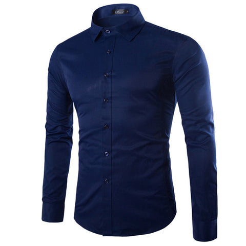 New Arrival Men's Long Sleeve Shirts Casual Slim Fit Dress Shirts